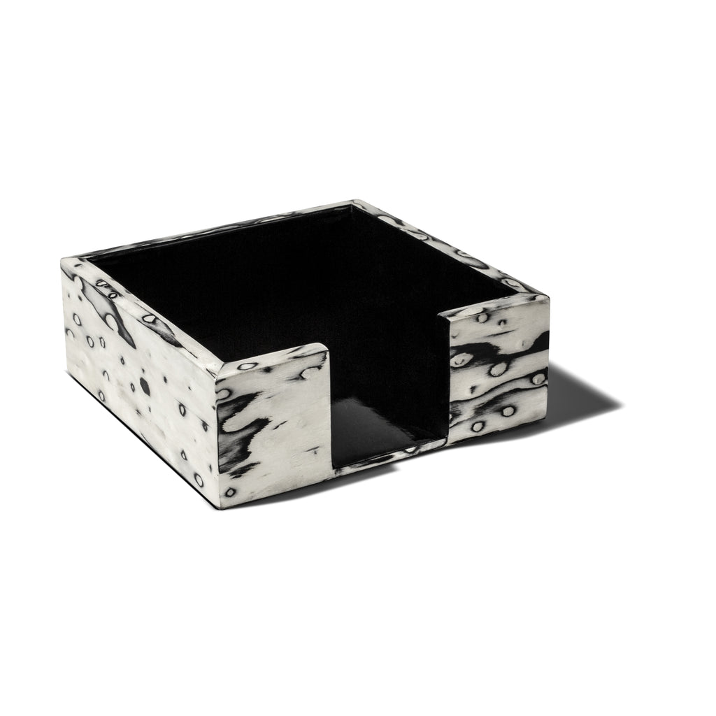 handmade black and cream patterned ojo de pajaro cocktail napkin holder with black wood inside