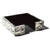 handmade black and cream patterned ojo de pajaro luncheon napkin holder with black wood inside empty