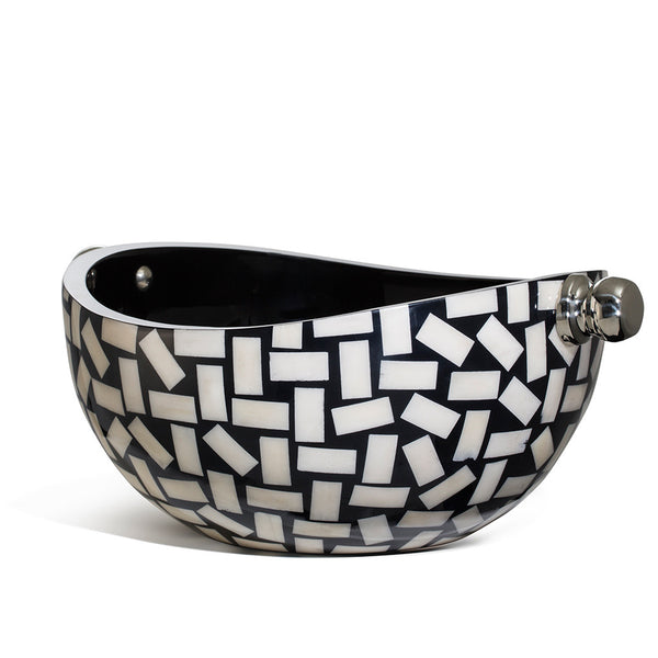 handmade white rectangular bone pattern on high gloss black wood serving bowl with two german silver knob handles