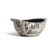 handmade cream and black spotted ojo de pajaro serving bowl with two c-shaped german silver handles