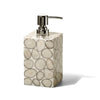 handmade silver gray and cream tagua palm ivory wood soap dispenser with silver soap pump