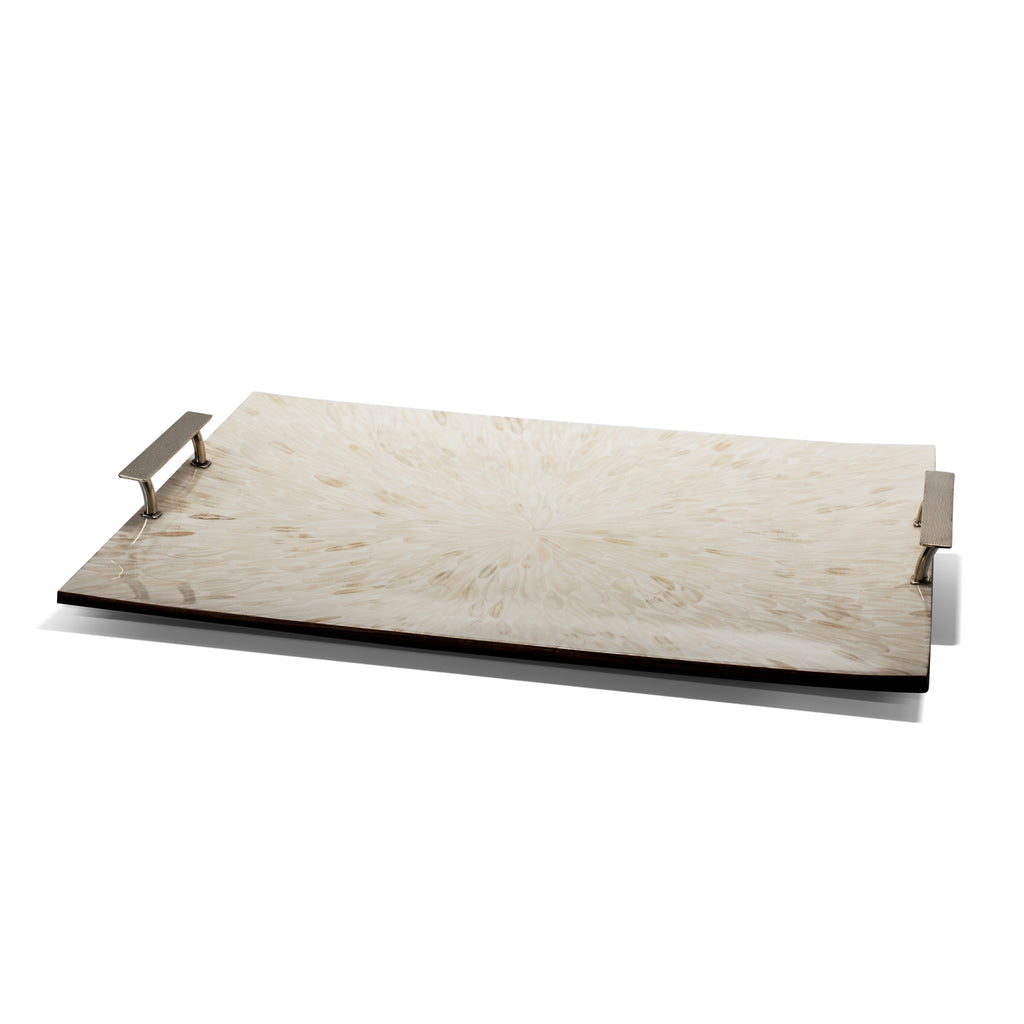 handmade cream light almendro large rectangular tray with german silver handles