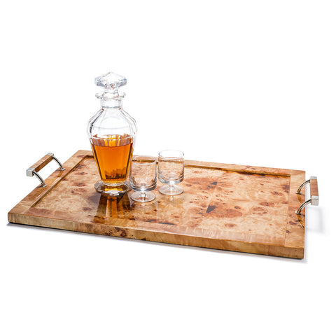 handmade tan burl veneer german silver wood large tray with handles drinking glasses on top