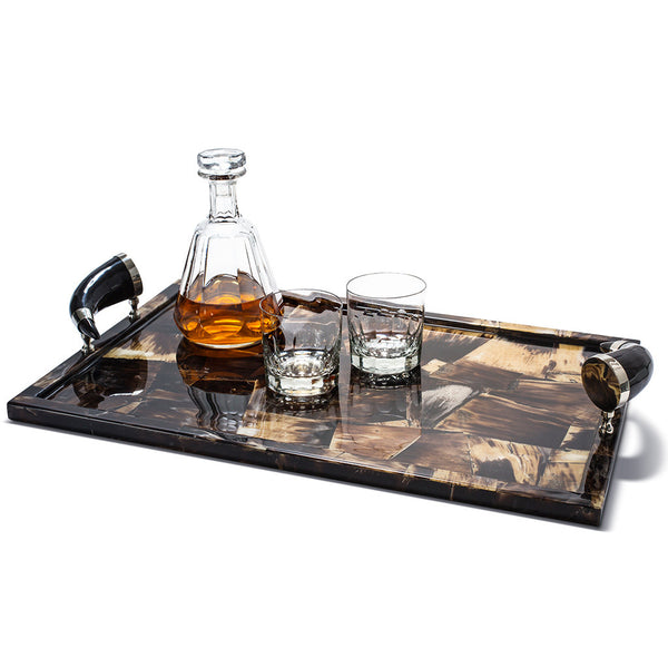 handmade black and tan horn veneer large tray with horn handles drinking glasses on top