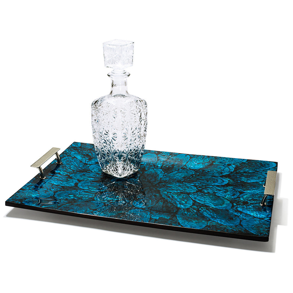 handmade blue mother of pearl and wood large tray with glass decanter on top