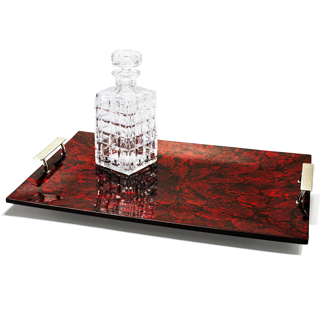 handmade red patterned mother of pearl wood large tray with german silver handles and glasses on top