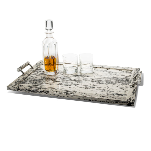 handmade cream and black ojo de pajaro veneer wood large tray with wood and german silver handles and drinking glasses on top