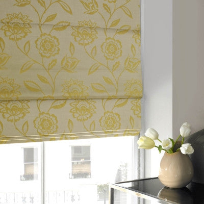 yellow floral roller blinds