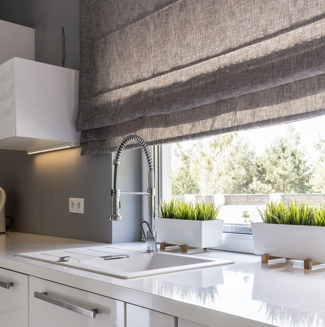Grey roman blind kitchen