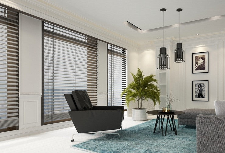modern living room blinds