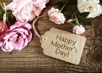 Header image with pink roses and a gift tag which reads Happy Mothers Day