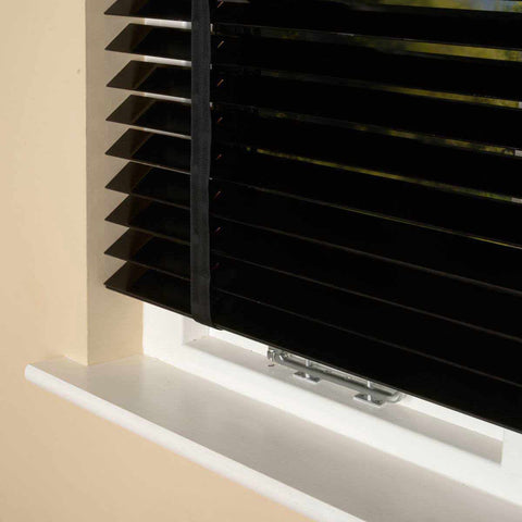 50mm Elementi Wood Venetian Blind With Tapes Black Gloss