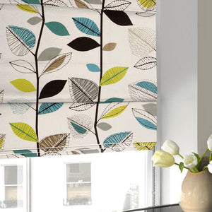Autumn Leaves Roman Blind Teal