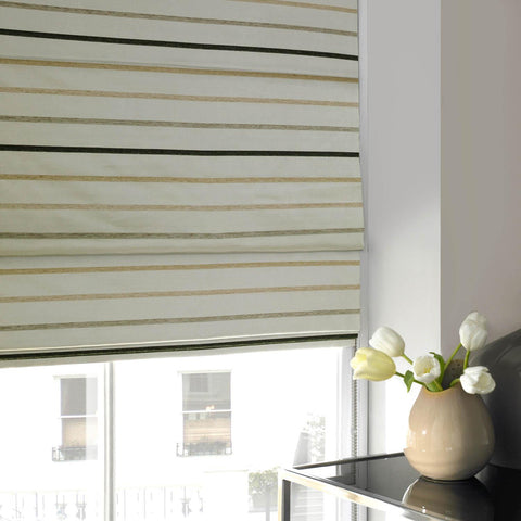 Chenille Stripe Roman Blind Black