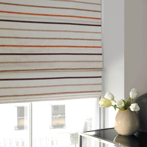 Chenille Stripe Roman Blind Cream
