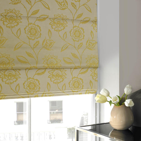 Floral Jaquard Roman Blind Mimosa