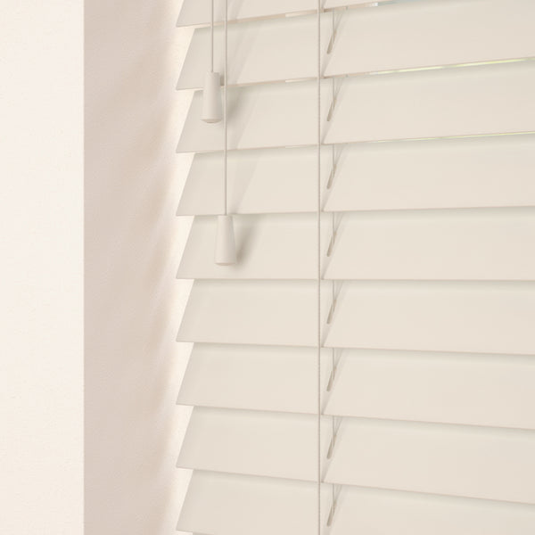 50mm Primary Wood Venetian Blinds Old White
