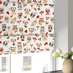 Ollie Owl Roman Blind Red