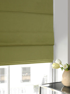 Satin Roman Blind Lime Plain