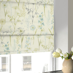 Wild Flower Roman Blind Teal