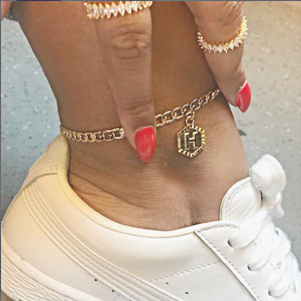 Custom Hexagon Alphabet Anklet - Accessories for shoes