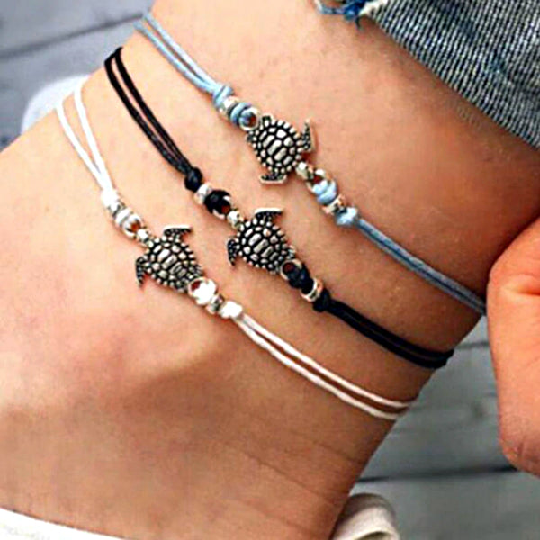 Beach Turtle Charm String Anklet Bracelet - Accessories for shoes