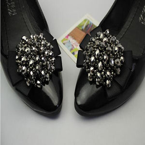 Clear Rhinestone Crystal Shoes Decoration Bow - Accessories for shoes