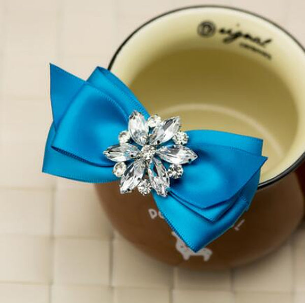 Hand Made Rhinestone Crystal Ribbon Bowtie - Accessories for shoes