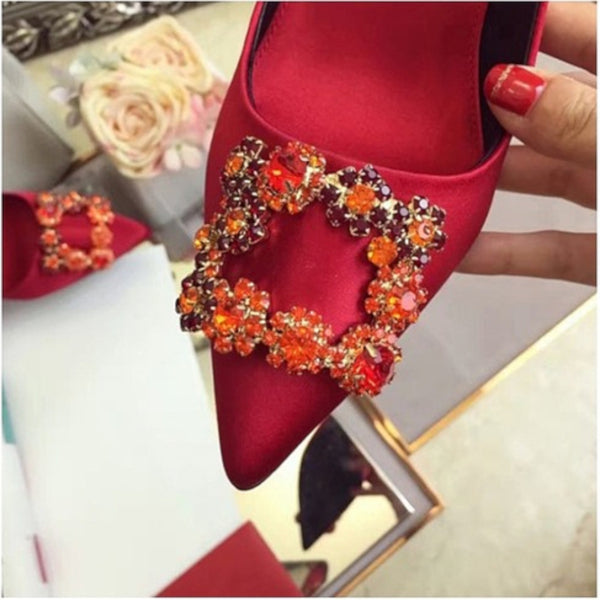 Rhinestone Crystal Diamond Square Shoe Buckle - Accessories for shoes