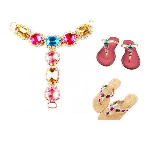 Rhinestone Shoes Decoration Chain For Slippers Flip-Flops Sandals Flats - Accessories for shoes