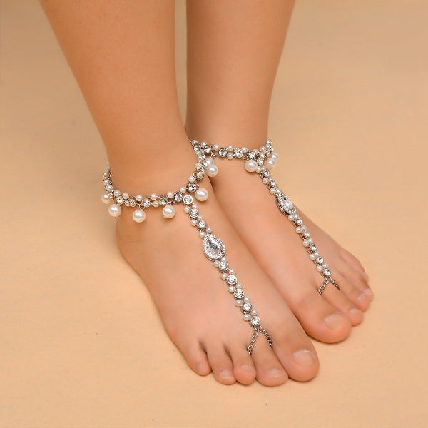 Imitation Pearl Pendant Rhinestone Anklet Chain - Accessories for shoes