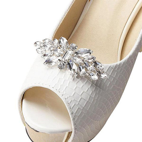One-pair Crystal Butterfly Rhinestone Shoe Clip - Accessories for shoes