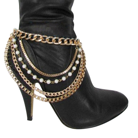 One-pair Pearl Metal Tassels Pumps Chain - Accessories for shoes
