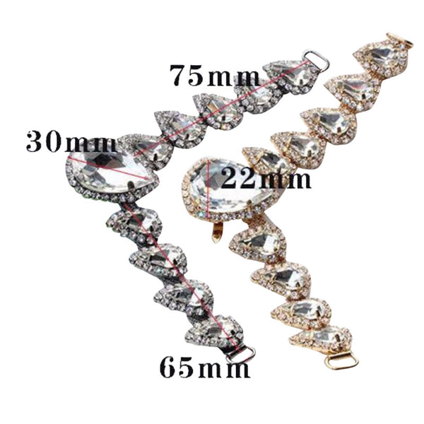 One-pair High-grade Metal Diamond Chain For Clothing Bags Shoes DIY Accessories