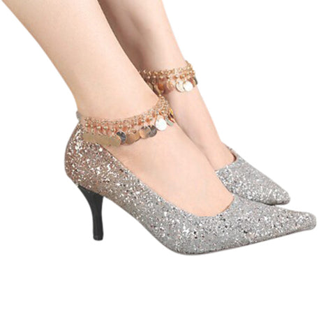 One-pair Golden Plated Silicone Ankle Chain - Accessories for shoes