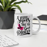 Good Shoes Good Places Custom Print Mug - White