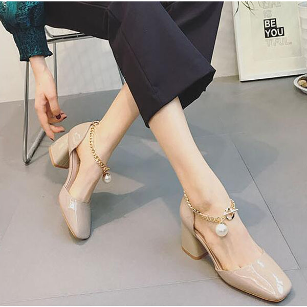 Elegant Pearl Metal Interlock Ankle Chain - Accessories for shoes