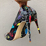 Graffiti Print Stiletto High Heels - Accessories for shoes