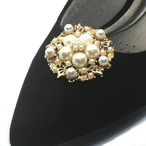 Pearl Gold Round Shoe Clip - Accessories for shoes