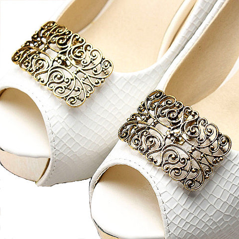 One-pair Vintage Hollow Metal Shoe Clip - Accessories for shoes