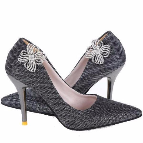 Metal Flower Rhinestone Shoe Clip - Accessories for shoes
