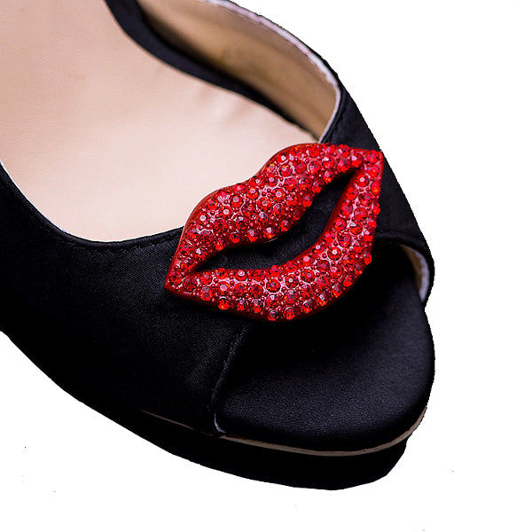 Classic Red Lips Crystal Shoe Clip - Accessories for shoes