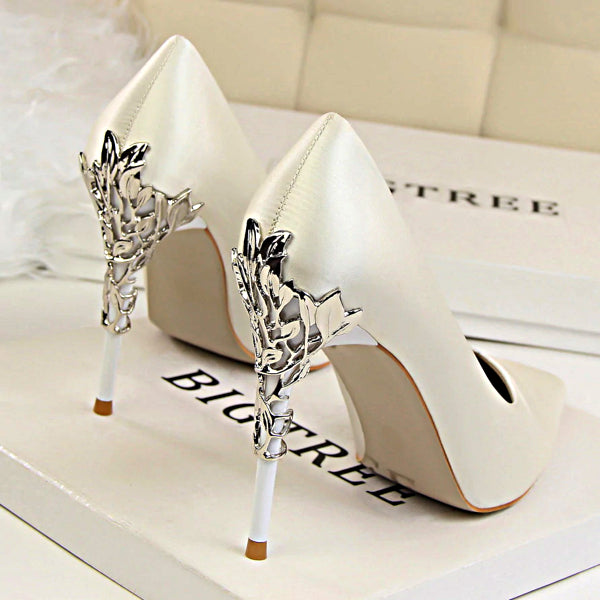 Metal Carved High Heels Pumps - Accessories for shoes