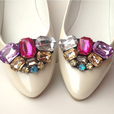 One-pair Elegant Multi-Color Crystal Rhinestone Shoes Clip - Accessories for shoes
