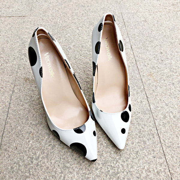 Polka Dot Print High Heels Pumps - White - Accessories for shoes