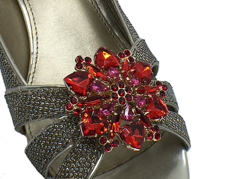 One-pair Red Colorful Flower Crystal Shoe Clip - Accessories for shoes