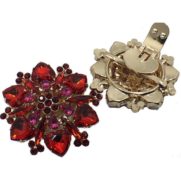 Red Colorful Flower Crystal Shoe Clip - Accessories for shoes