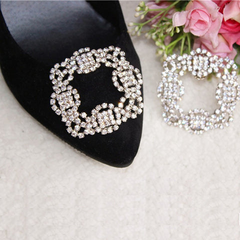 One-pair Square Crystal Shoe Clip - Accessories for shoes