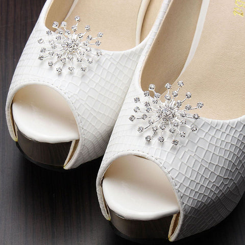Snow-flower Crystal Rhinestone Shoes Clip - Accessories for shoes