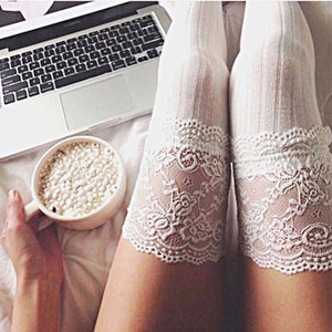 Thigh High Over The Knee Warm Lace Socks - Accessories for shoes